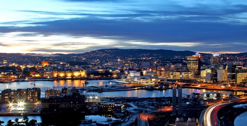 Oslo night from Ekeberg Restaurant - Rod Costa